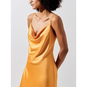 CARBON38 SILKY BIAS CUT SLIP ORANGE DRESS Small